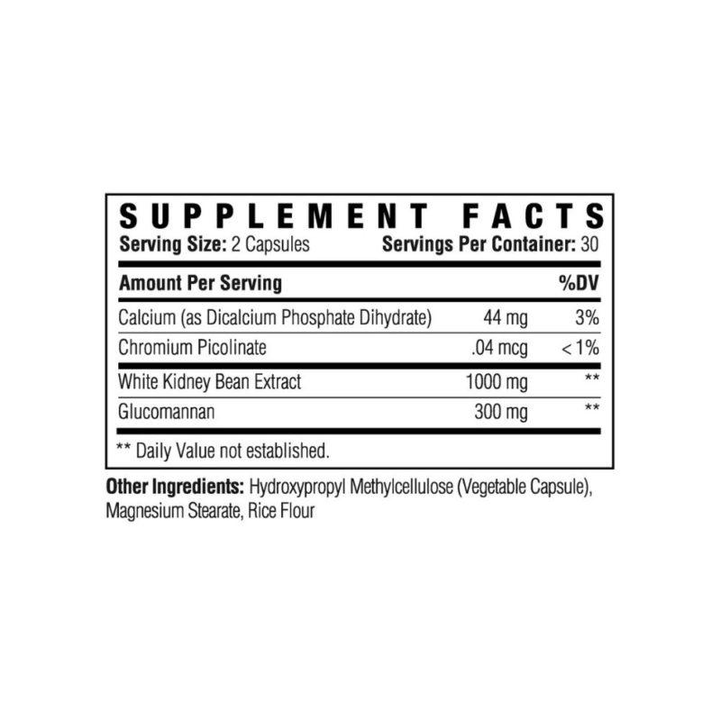 Carb Attack Supplement Back Label